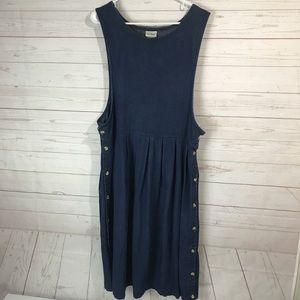 L.L.Bean   side button denim jumper dress size 18